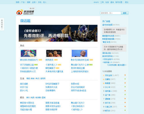 Weibo Micro Topics (Credit: HongKiat)